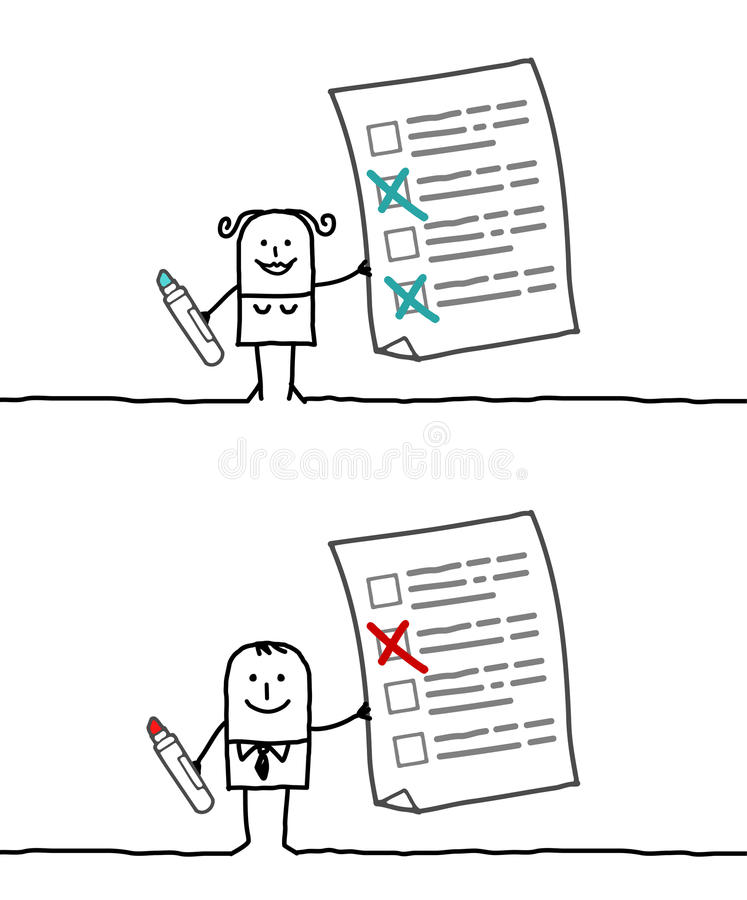 Checking list. Hand drawn cartoon characters - checking list royalty free illustration