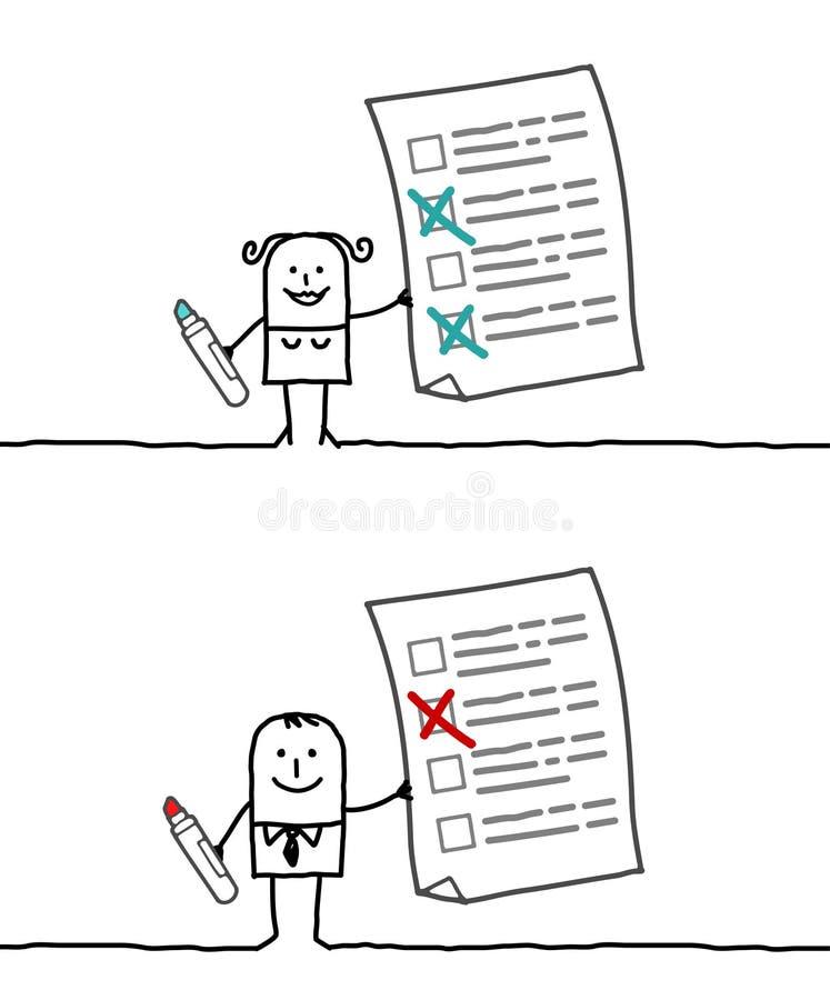 Checking list. Hand drawn cartoon characters - checking list