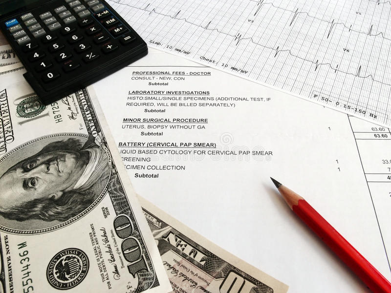 Checking medical bills stock images