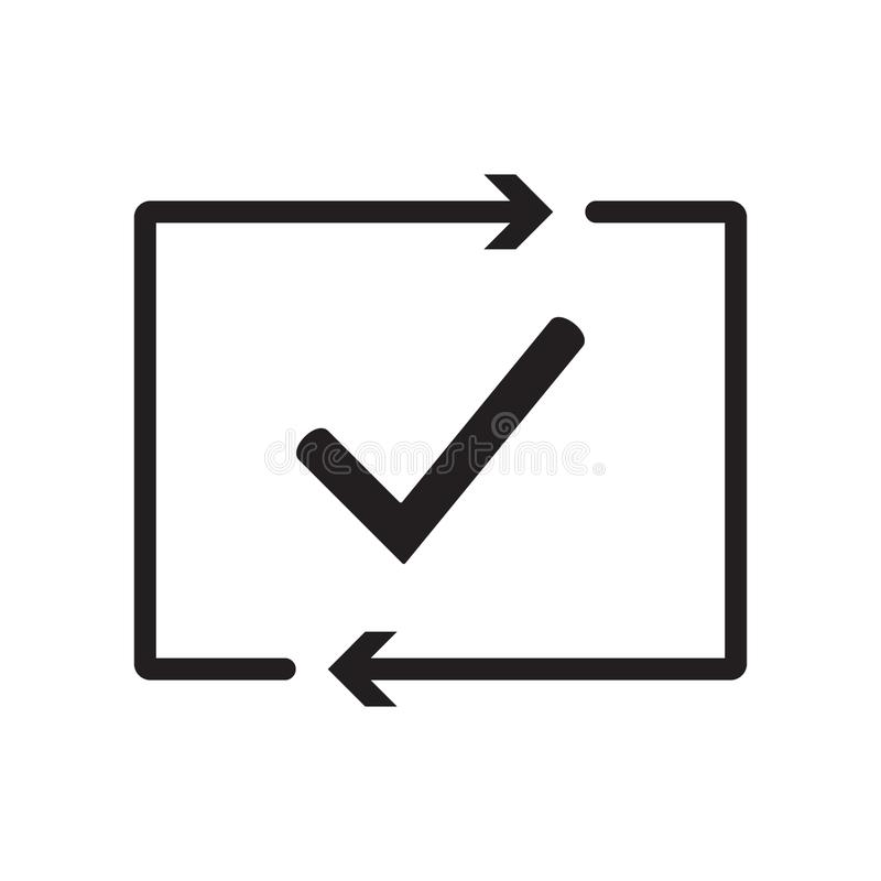Checking process icon. Successfully checked. Approved. Testing. Checkmark. Check mark with arrows. Verification and validation. royalty free illustration