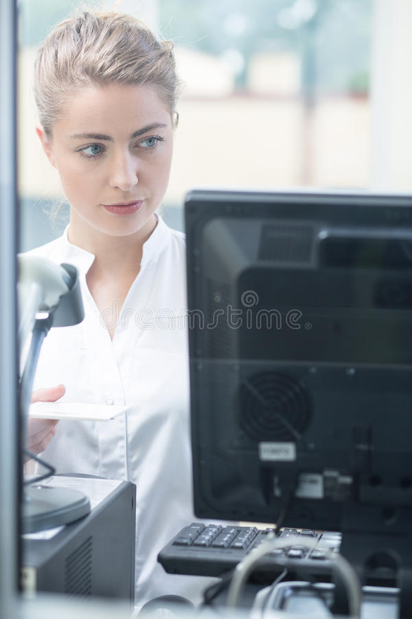 Checking tests in the computer stock photos