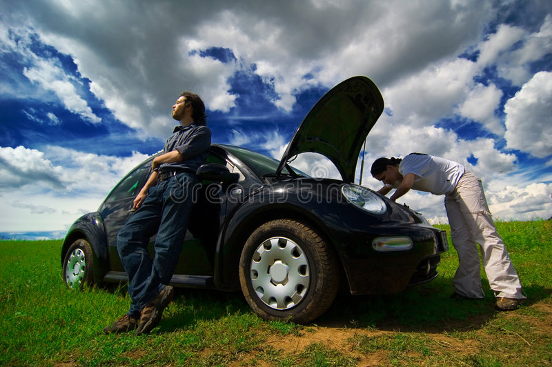 Download Checking Under The Hood stock image. Image of auto, field - 1420909