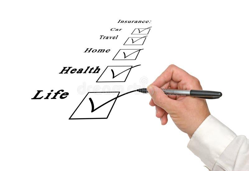 Checkkästen Versicherung stockfoto