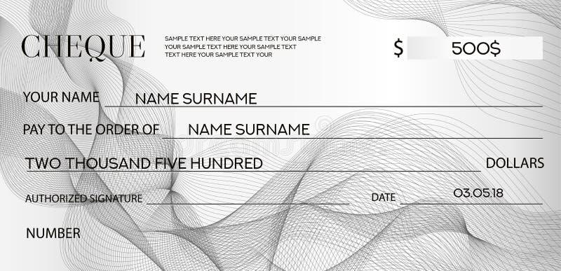 Checkkontrollmall, checkbokmall Bankcheck med guillochemodellen och den abstrakta vattenstämpeln för affär royaltyfri illustrationer