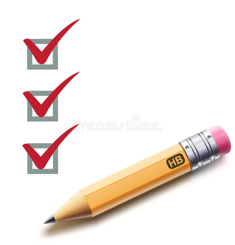 Checklist. Vector illustration of a checklist with a detailed pencil checking off tasks vector illustration