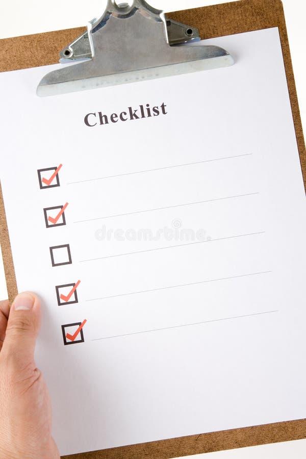 checklist imagen de archivo