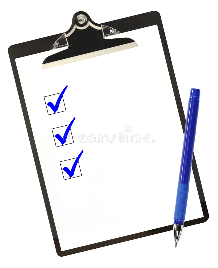 Checklist in Blue. Checklist on clipboard, with blue ticks and ballpoint pen stock photos