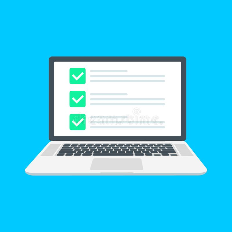 Checklist browser window. Check mark. White tick on laptop screen. Choice, survey concepts. Elements for web banners. Websites, infographics. Flat design royalty free illustration