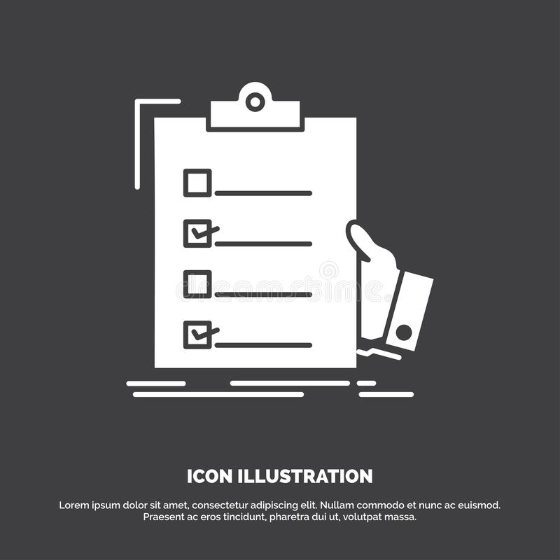 checklist, check, expertise, list, clipboard Icon. glyph vector symbol for UI and UX, website or mobile application royalty free illustration