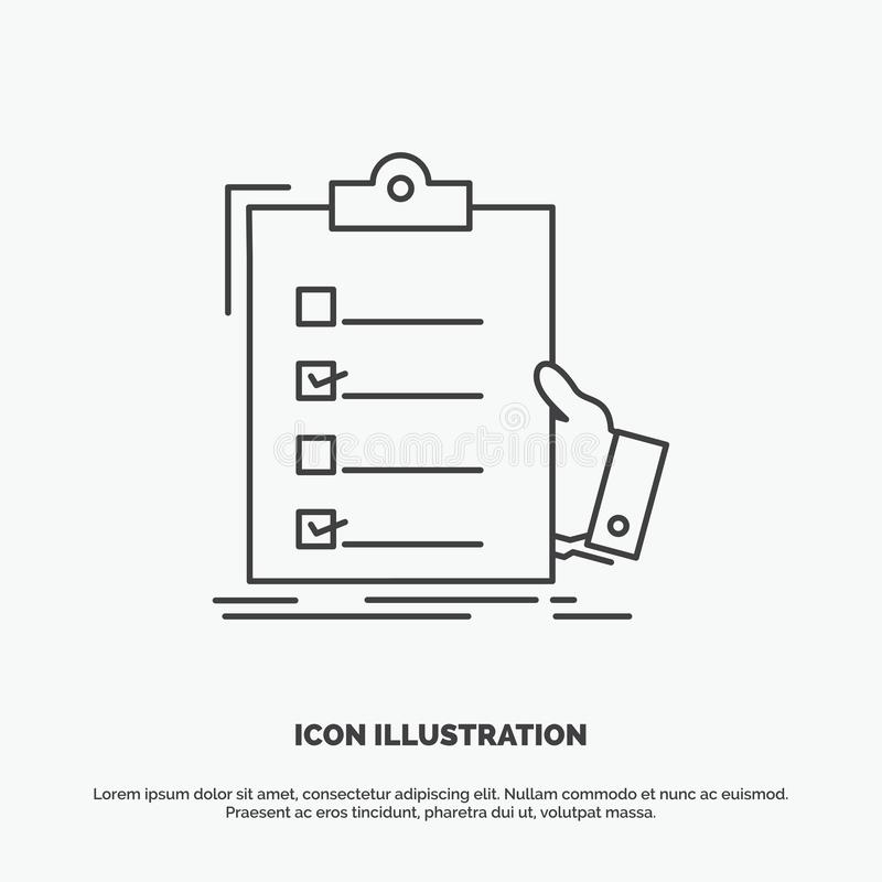 checklist, check, expertise, list, clipboard Icon. Line vector gray symbol for UI and UX, website or mobile application stock illustration