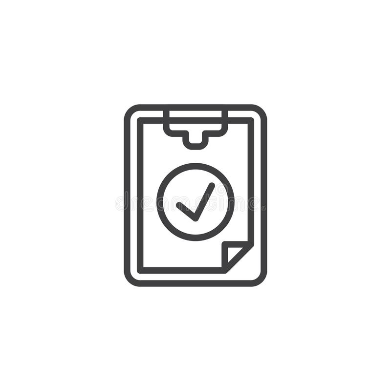 Checklist checkmark line icon. Linear style sign for mobile concept and web design. Ok tick Checklist outline vector icon. Symbol, logo illustration. Pixel stock illustration