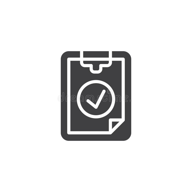 Checklist checkmark vector icon. Filled flat sign for mobile concept and web design. Ok tick Checklist simple glyph icon. Symbol, logo illustration. Pixel stock illustration