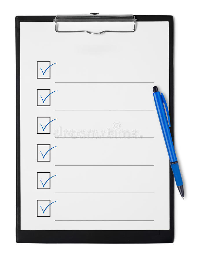 Checklist on clipboard royalty free stock photography