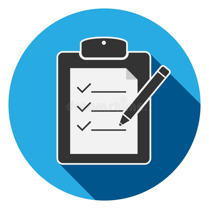 Checklist on clipboard with pencil icon or symbol stock illustration
