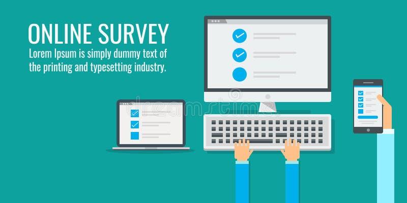 Checklist on computer screen, online survey, hand holding mobile phone, flat design vector banner. vector illustration