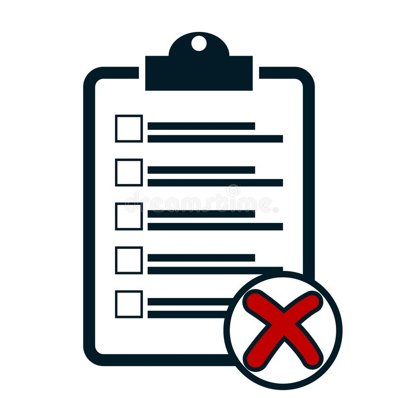 Checklist with cross icon. Clipboard with red x marks royalty free illustration