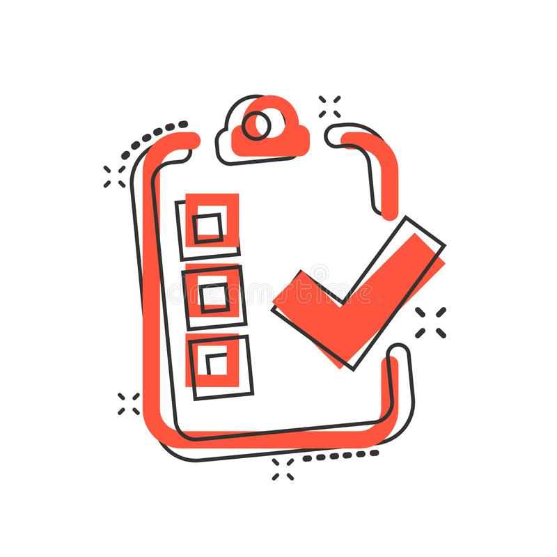 Checklist document sign icon in comic style. Survey vector cartoon illustration on white isolated background. Check mark banner royalty free illustration