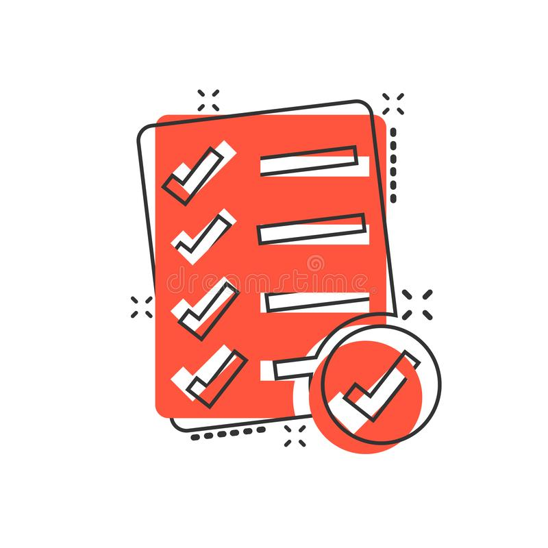 Checklist document sign icon in comic style. Survey vector cartoon illustration on white isolated background. Check mark banner vector illustration