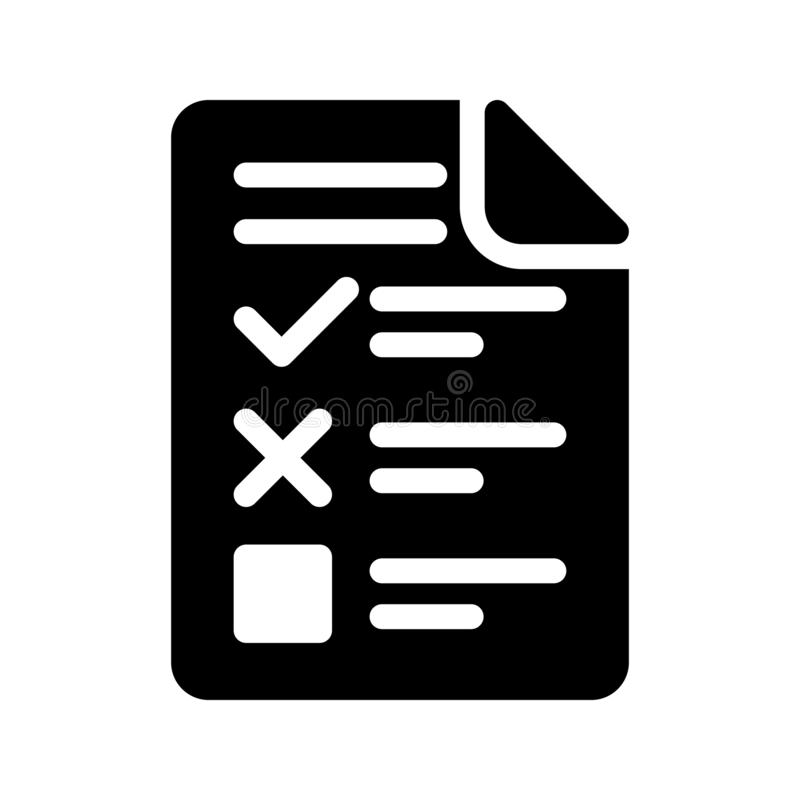 Checklist glyph vector icon stock illustration