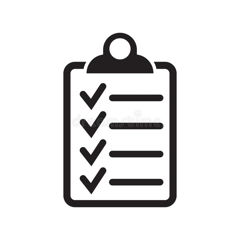 Checklist icon flat style isolated on background. Checklist sign symbol for web site and app design. Vector illustration on white background royalty free illustration