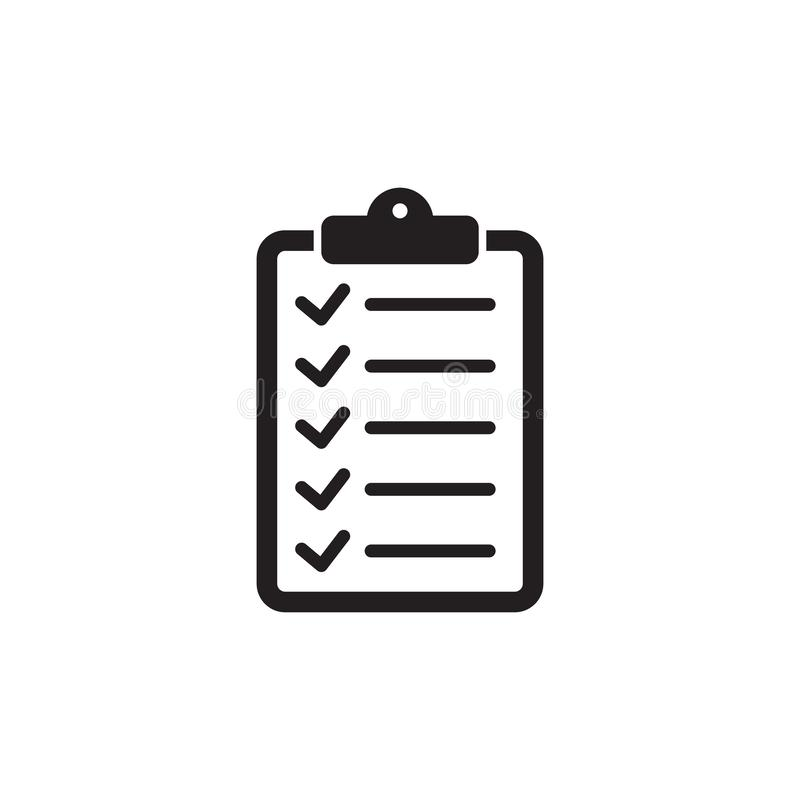 Checklist icon flat style isolated on background. Checklist sign symbol for web site and app design. Vector illustration isolated on white background royalty free illustration