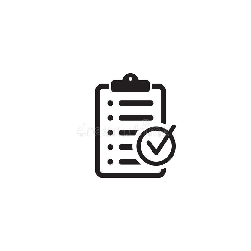 Checklist icon flat style isolated on background. Checklist sign symbol for web site and app design. Vector illustration on background royalty free illustration