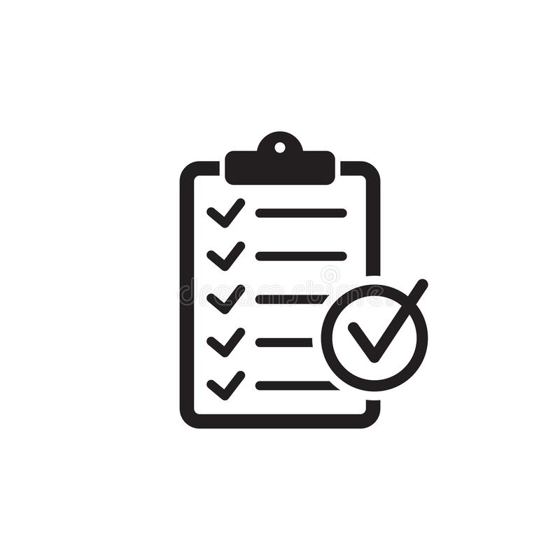 Checklist icon flat style isolated on background. Checklist sign symbol for web site and app design. Vector illustration isolated on white background stock illustration