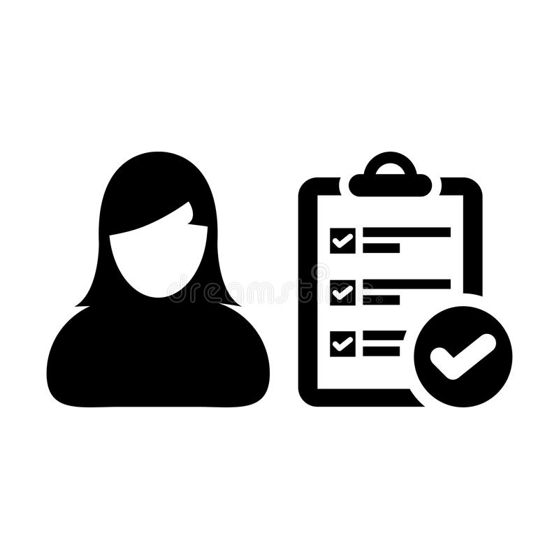 Checklist icon vector female person profile avatar with survey report document and tick symbol. In flat color Glyph Pictogram illustration royalty free illustration