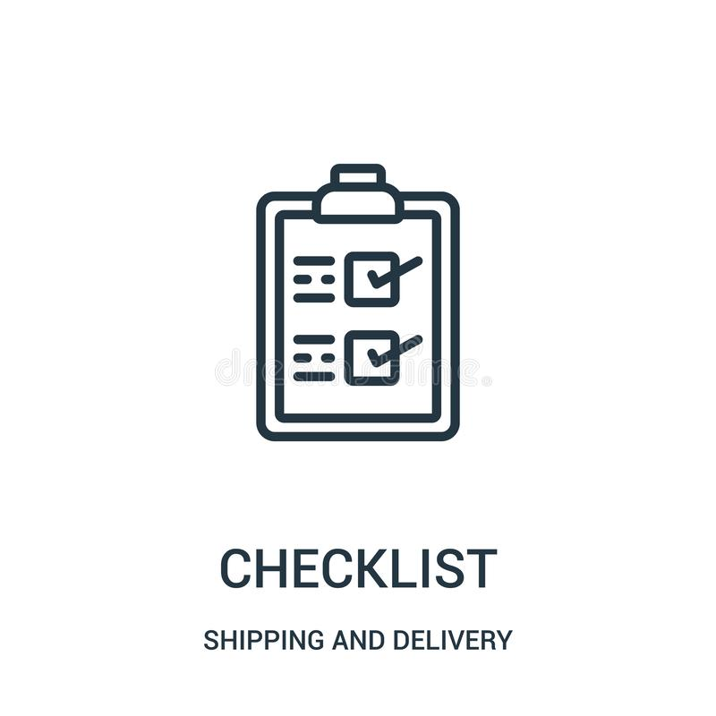 checklist icon vector from shipping and delivery collection. Thin line checklist outline icon vector illustration. Linear symbol royalty free illustration