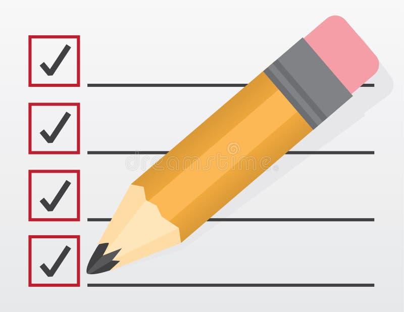 Checklist Large Pencil vector illustration