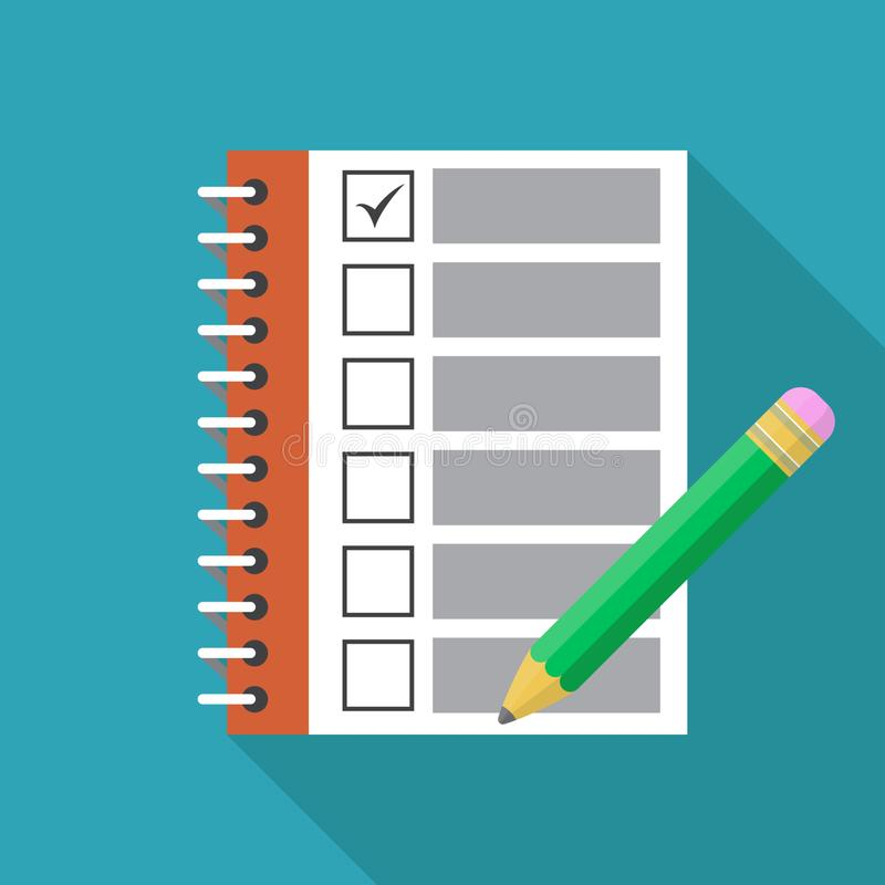 Checklist with marks and pencil flat icon. Template design for education, business, planning or infographics. Vector illustration. royalty free illustration