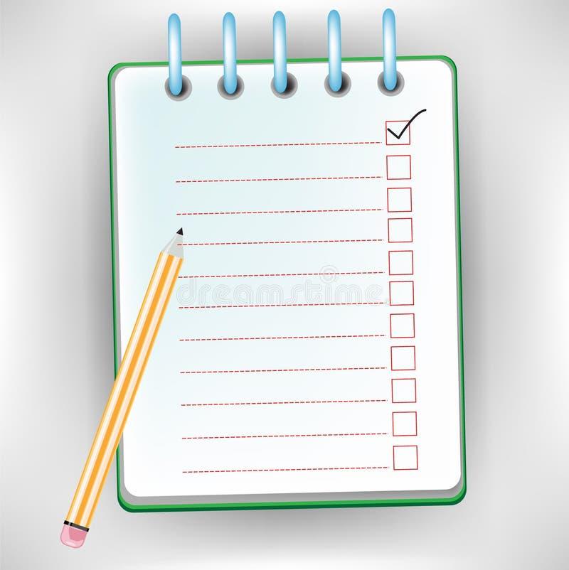 Checklist notebook royalty free illustration