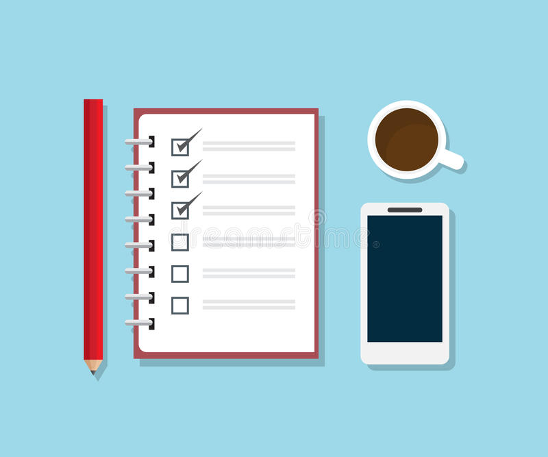 Checklist notebook with pencil smartphone and coffee stock illustration