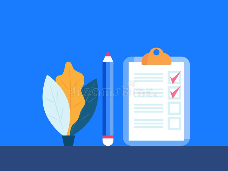 Checklist paper on clipboard with pencil vector illustration