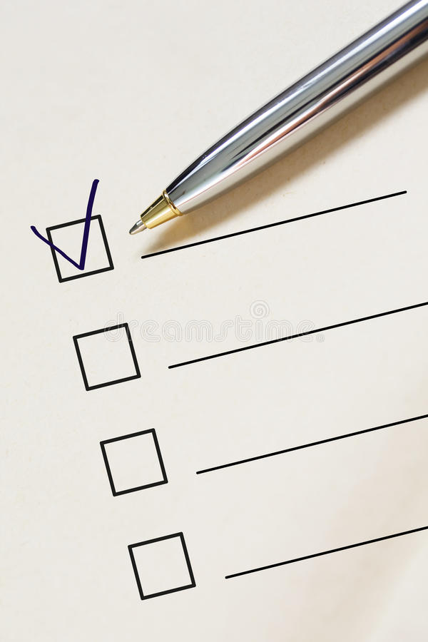 Download Checklist and pen. stock photo. Image of note, vote, questionnaire - 10174082