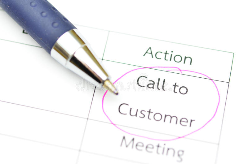 Checklist With Pen. In focus word call to customer stock image