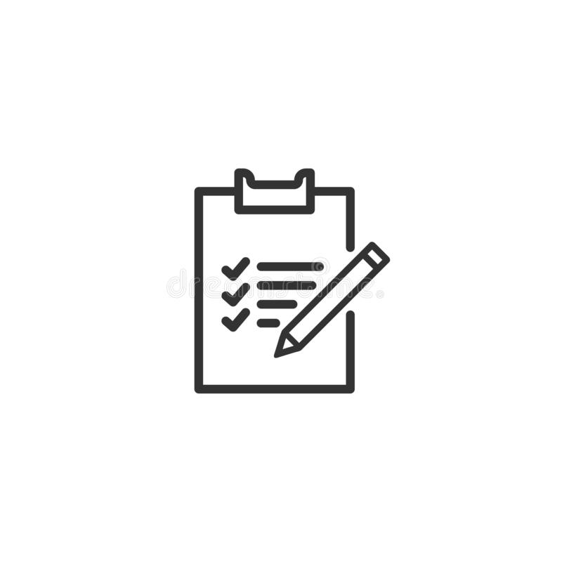Checklist with pen line icon in simple design on a white background stock illustration