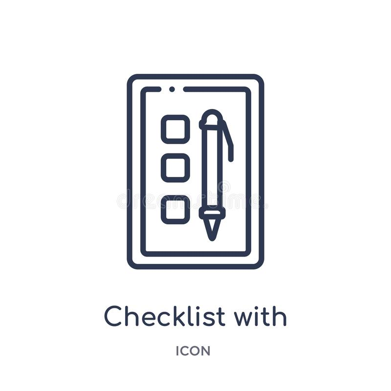 checklist with a pencil icon from political outline collection. Thin line checklist with a pencil icon isolated on white stock illustration