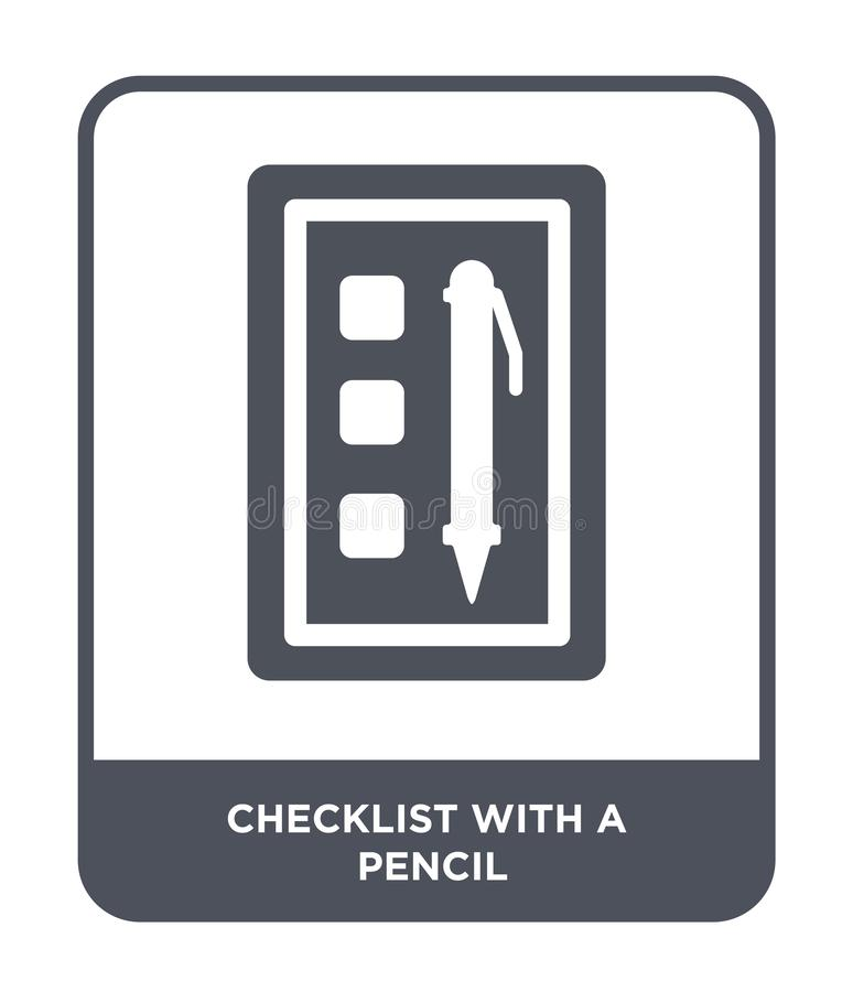 checklist with a pencil icon in trendy design style. checklist with a pencil icon isolated on white background. checklist with a stock illustration