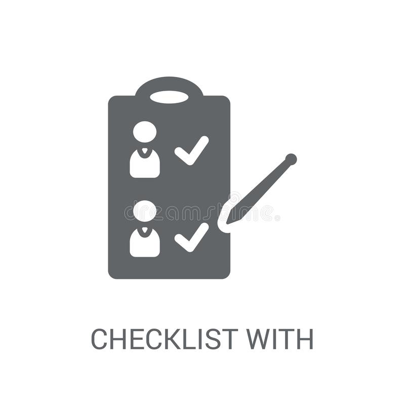 Checklist with a pencil icon. Trendy Checklist with a pencil log royalty free illustration