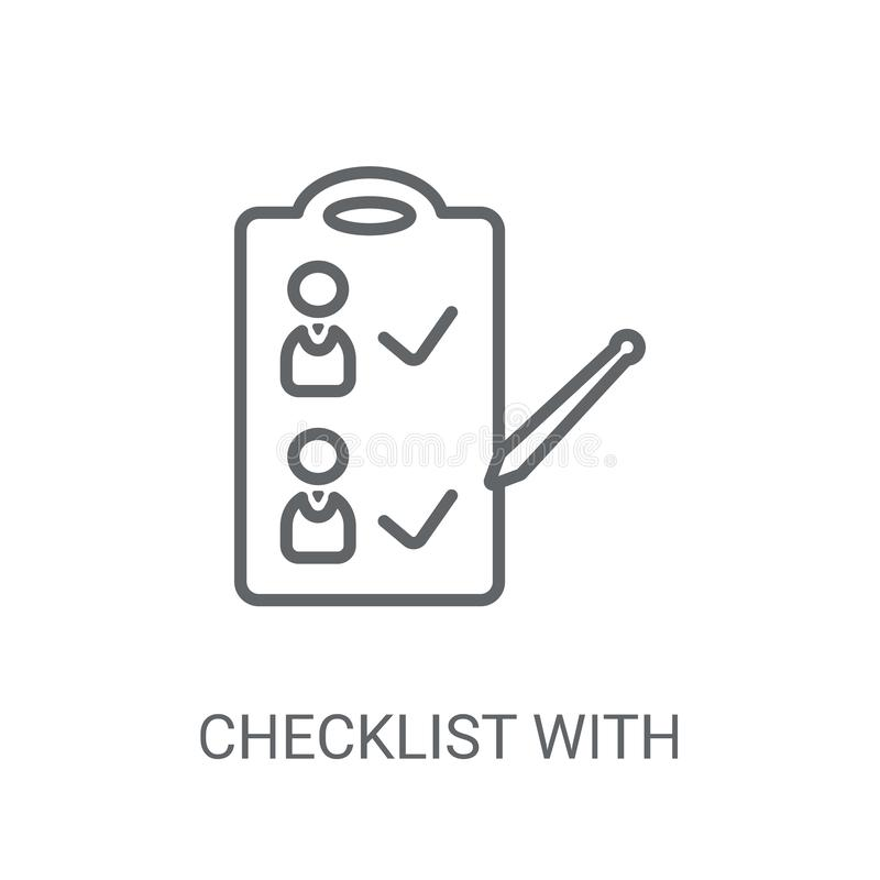Checklist with a pencil icon. Trendy Checklist with a pencil log stock illustration
