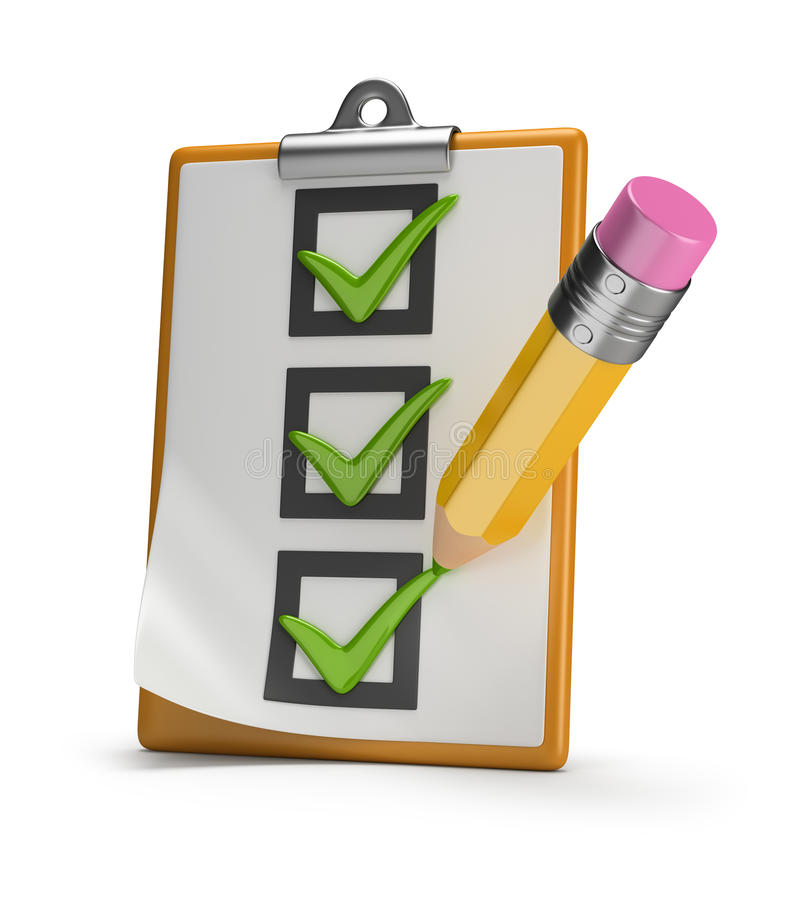 Checklist and pencil stock illustration