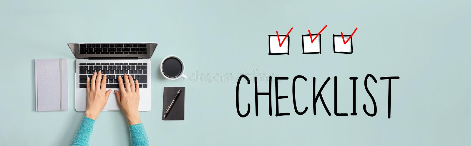 Checklist with person using laptop vector illustration
