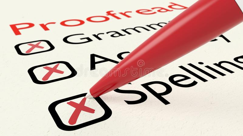 Checklist of proofreading characteristics grammar accuracy and spelling. On paper crossed off by a red pen 3D illustration royalty free illustration