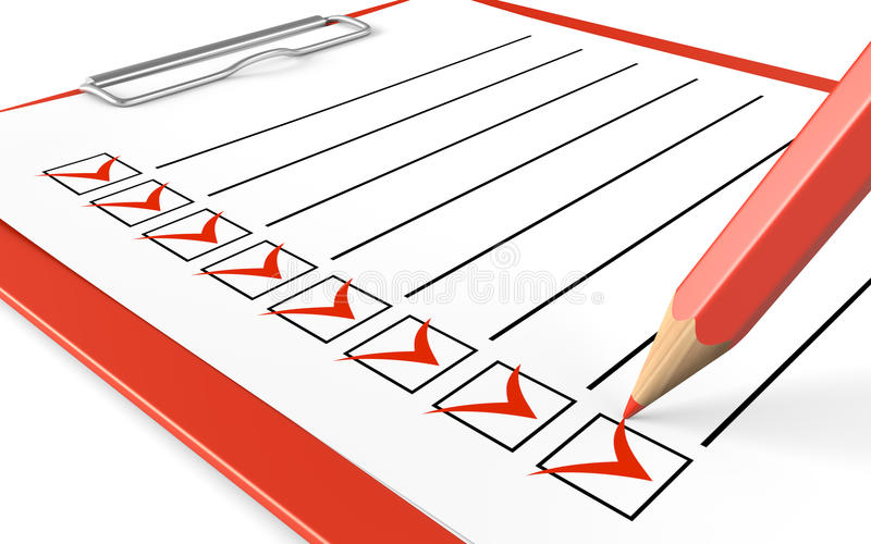 Checklist. Red clipboard and pencil. royalty free illustration