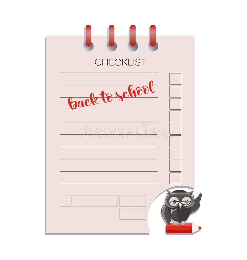 CHECKLIST and smart owl. royalty free illustration