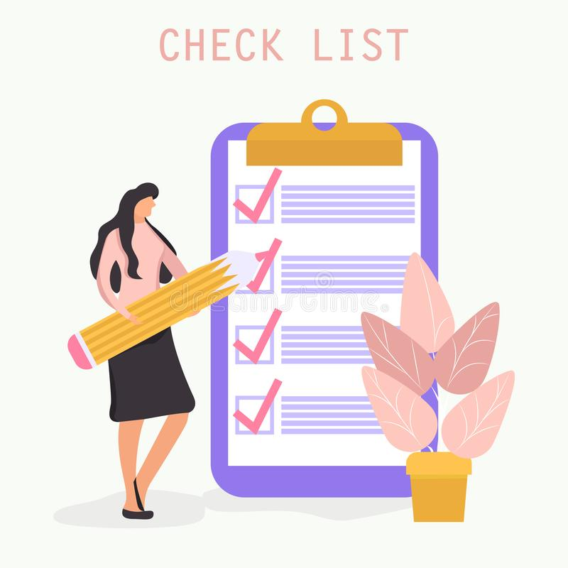 Checklist with a tick mark. woman holds a pencil and stay near giant clipboard royalty free illustration