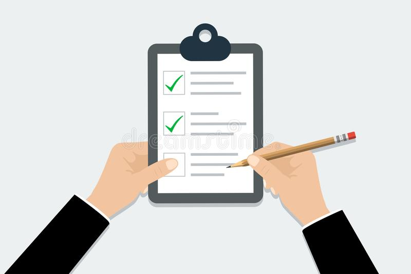 Checklist - vector illustration. Hand holding clipboard checklist with pencil in trendy flat design stock illustration