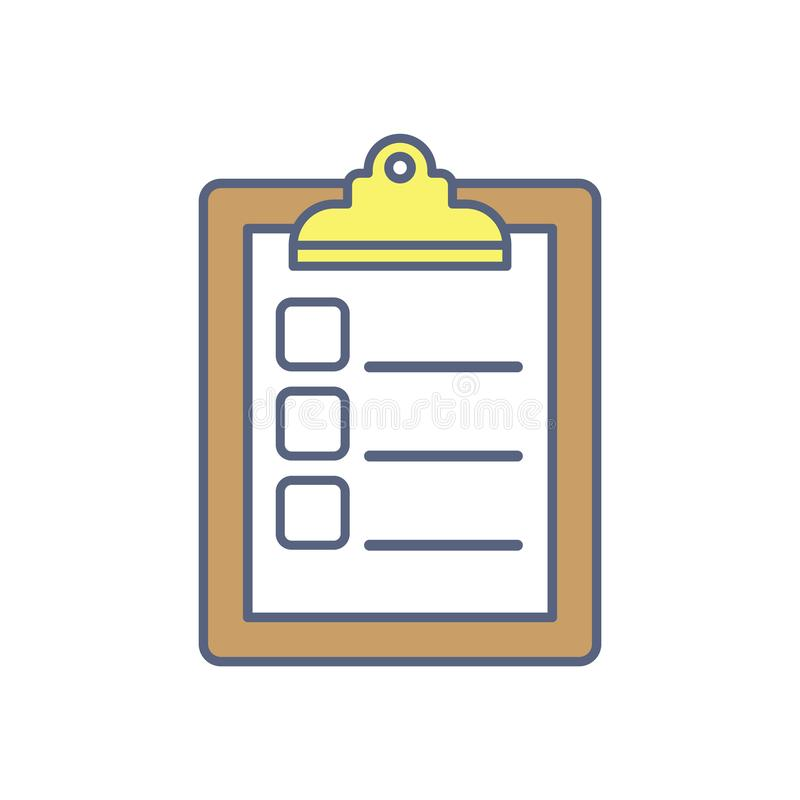 Checklist vector illustration. To do list flat isolated icon. Panning and productivity concept. stock illustration