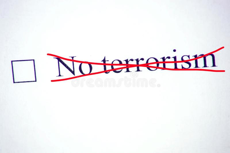 Checklist with a word No Terrorism on white paper. Checkbox concept royalty free stock images